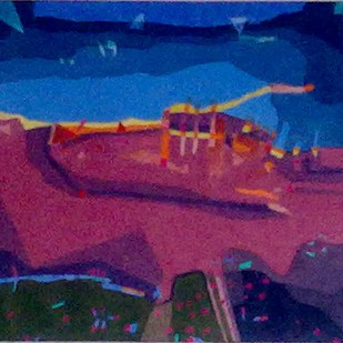 Red Landscape by Kaushik Bose, Expressionism Painting, Watercolor on Paper, Blue color