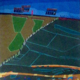 Green Landscape by Kaushik Bose, Expressionism Painting, Watercolor on Paper, Green color