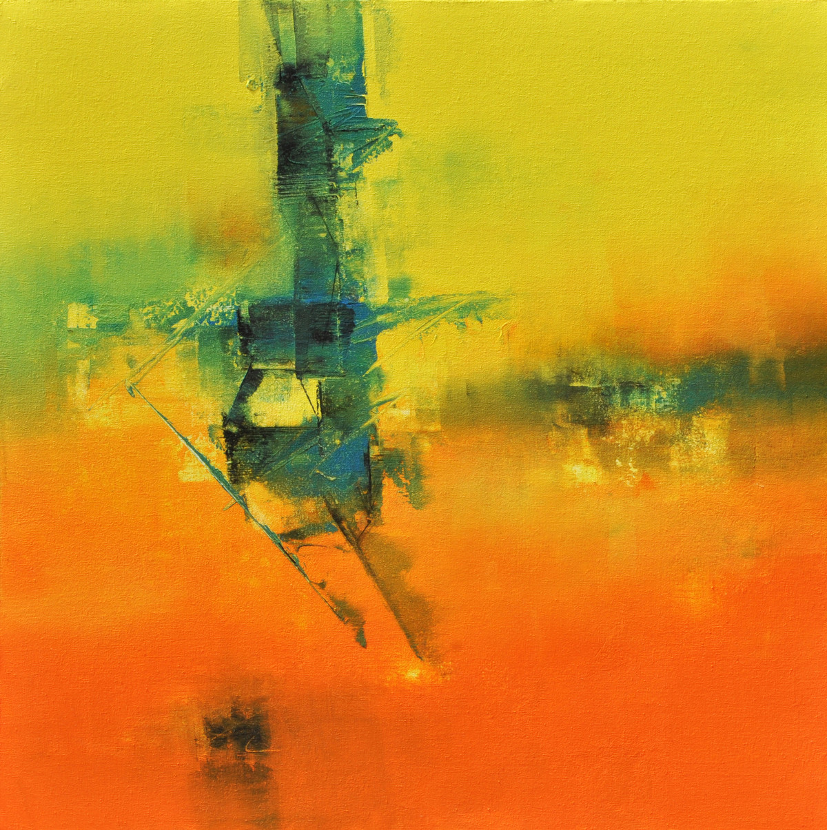 Defining Space by Raju Durshettiwar, Abstract Painting, Acrylic on Canvas, Orange color