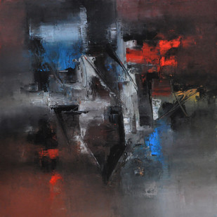 Defining Space by Raju Durshettiwar, Abstract Painting, Acrylic on Canvas, Gray color