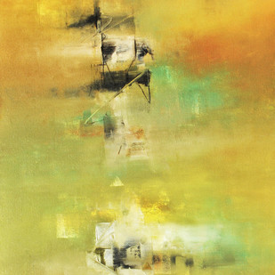Defining Space by Raju Durshettiwar, Abstract Painting, Acrylic on Canvas, Beige color