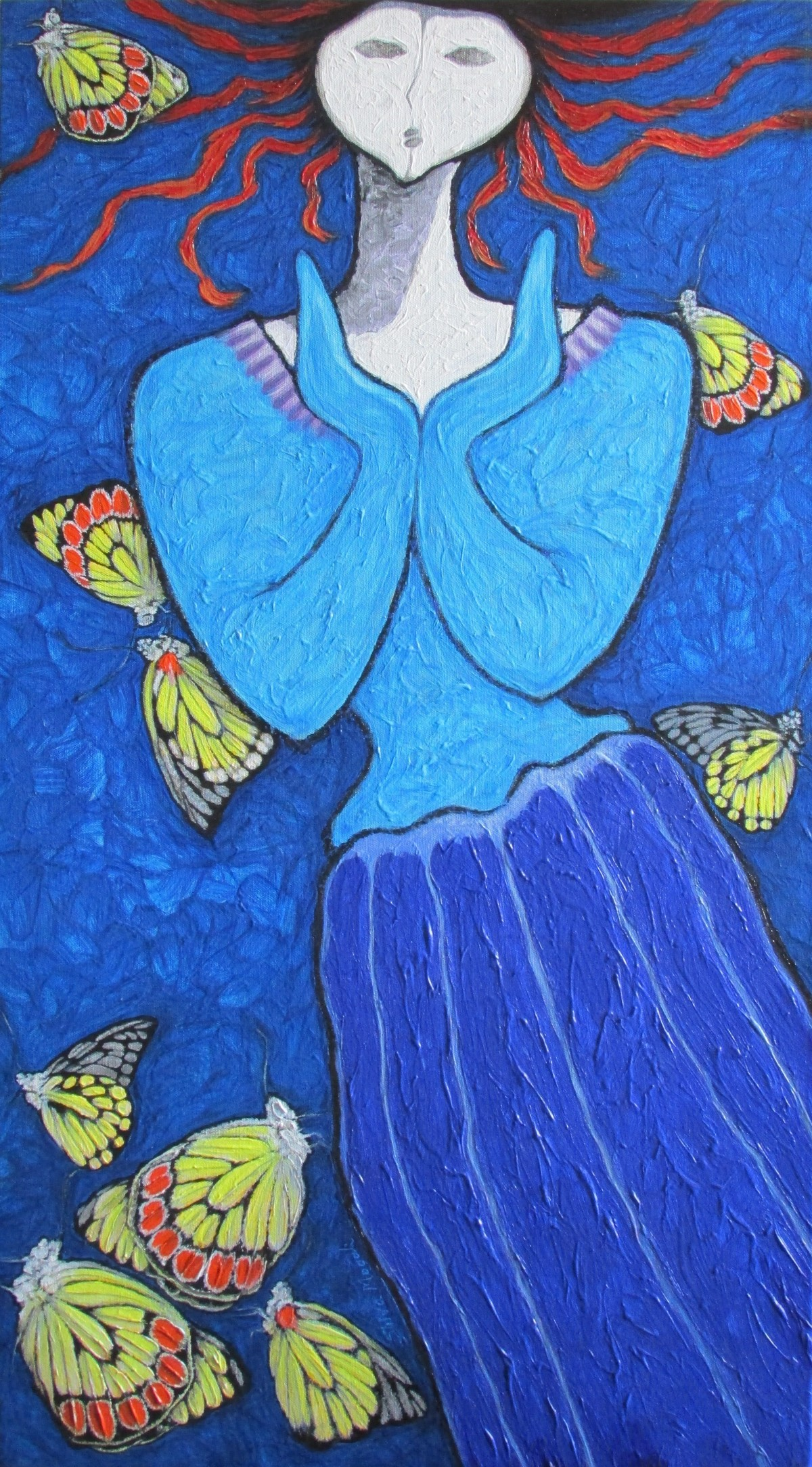 A Girl With Yellow Butterflies Digital Print by Shivayogi Mogali,Expressionism