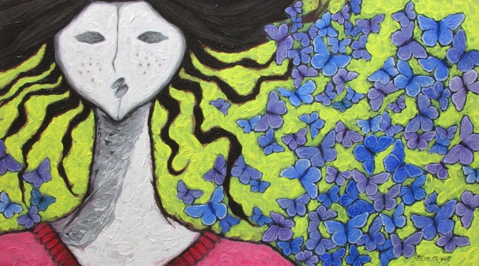 A Swarm of Blue Butterflies - Painting by Shivayogi  Mogali