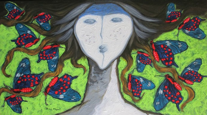 A Girl With Swallowtail Butterflies by Shivayogi Mogali, Expressionism Painting, Acrylic on Canvas, Green color