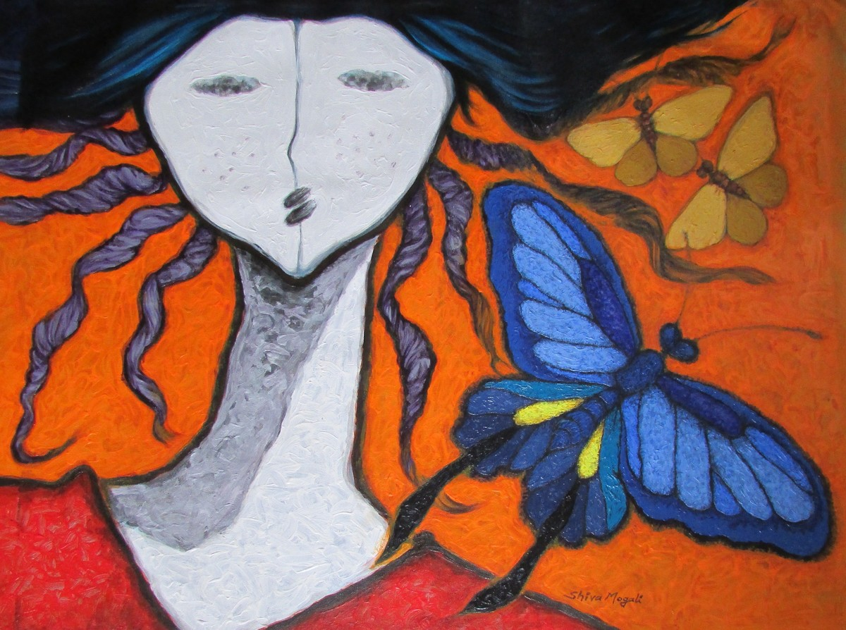A Girl And Butterflies 3 by Shivayogi Mogali, Expressionism Painting, Acrylic on Canvas, Brown color