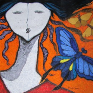 A Girl And Butterflies 3 Digital Print by Shivayogi Mogali,Expressionism