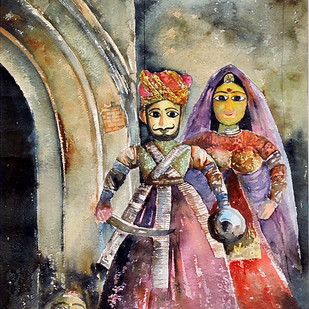 King & Queen by Badal Majumdar, Decorative Painting, Watercolor on Paper, Brown color