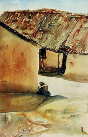 Daylight by Badal Majumdar, Impressionism Painting, Watercolor on Paper, Brown color