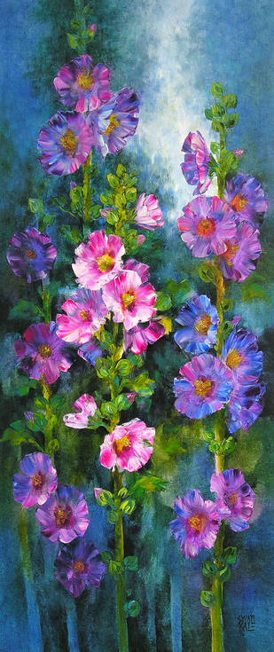Hollyhocks by Swati Kale, , , Green color