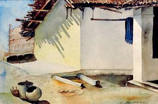 Afternoon by Badal Majumdar, , , Beige color
