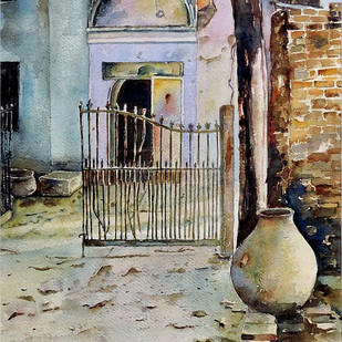 Water Pot by Badal Majumdar, Impressionism Painting, Watercolor on Paper, Brown color