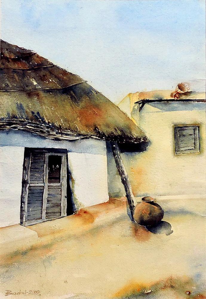 Noon by Badal Majumdar, Impressionism Painting, Watercolor on Paper, Beige color