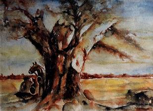 Village Deity 2 by Badal Majumdar, Impressionism Painting, Watercolor & Ink on Paper, Brown color