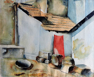 Red Cloth by Badal Majumdar, Impressionism Painting, Watercolor on Paper, Brown color