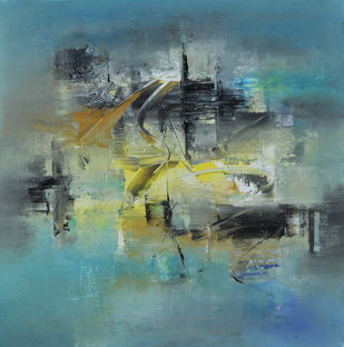 Defining Space by Raju Durshettiwar, Abstract Painting, Acrylic on Canvas, Green color