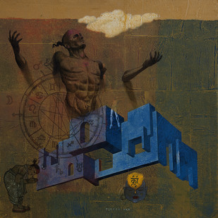 Deepak nagji mer house of gods %2817%29  40 x 40 inch mix media on canvas