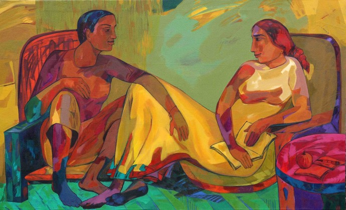 New Dialog by Avinash Mokashe, Painting, Acrylic on Canvas, Brown color
