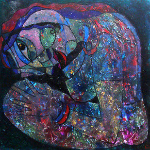 Waiting by Lipika Bala Chakraborty, Expressionism Painting, Acrylic on Canvas, Blue color