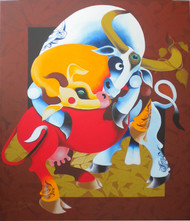 Love by Uttam Manna, Decorative Painting, Acrylic on Canvas, Brown color
