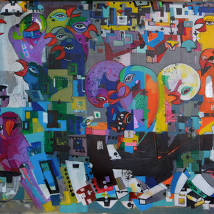 Urban Noise by Madan Lal, Conceptual Painting, Acrylic on Canvas, Green color