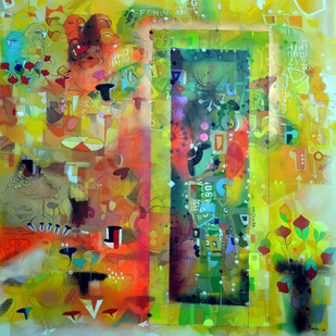 City with In by Madan Lal, Conceptual Painting, Acrylic on Canvas, Green color