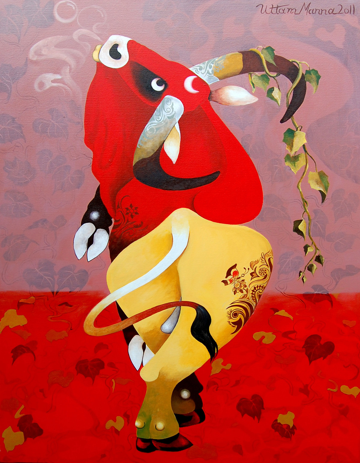 Red Bull by Uttam Manna, Decorative Painting, Acrylic on Canvas, Red color