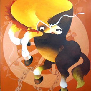 Jumping Horse by Uttam Manna, Decorative Painting, Acrylic on Canvas, Brown color