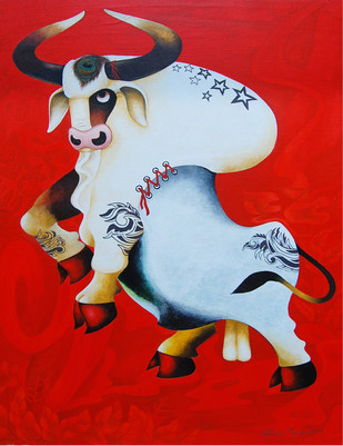 White Bull by Uttam Manna, Decorative Painting, Acrylic on Canvas, Red color