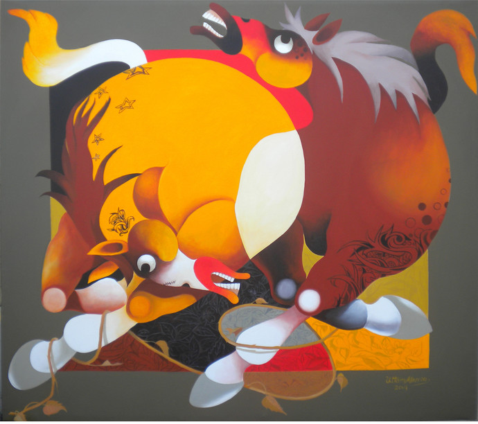 Force by Uttam Manna, Decorative Painting, Acrylic on Canvas, Brown color