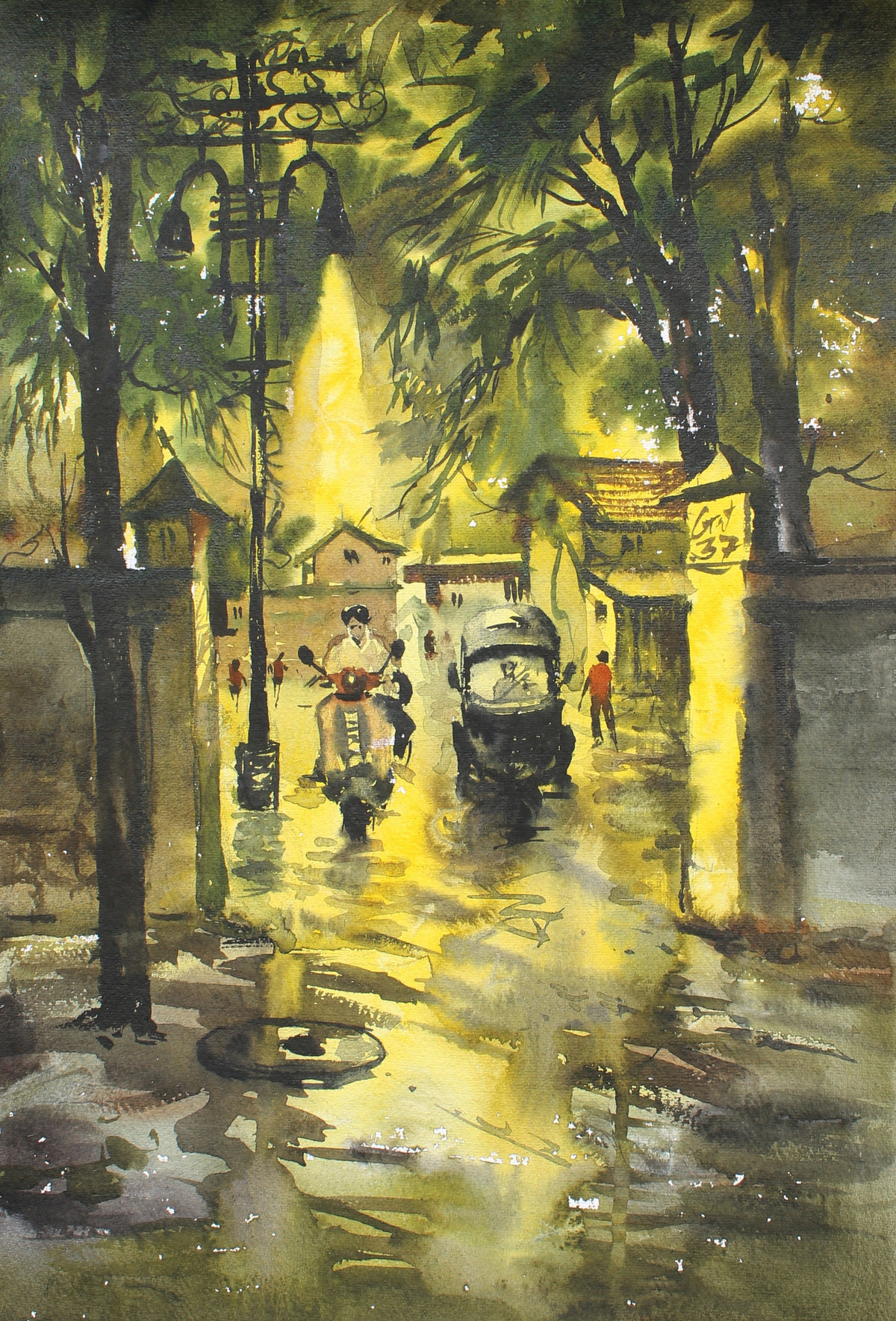 Golden Night by Sunil Bambal, Impressionism Painting, Watercolor on Paper, Beige color