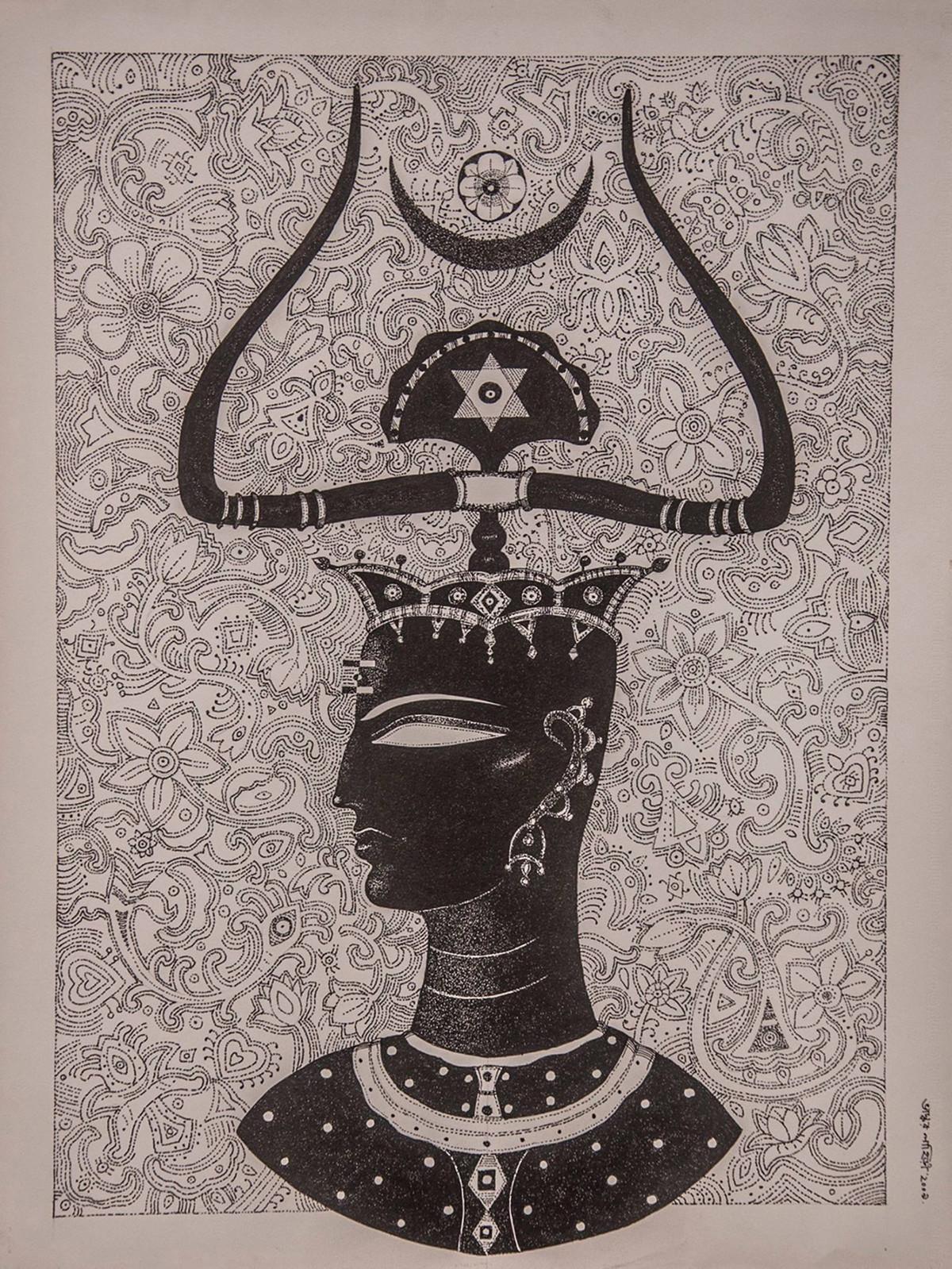 King Digital Print by Bhaskar Lahiri,Folk
