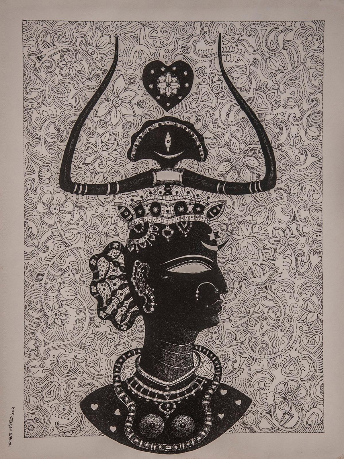 Queen by Bhaskar Lahiri, Folk Drawing, Pen & Ink on Paper, Brown color