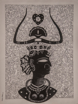 Queen by Bhaskar Lahiri, Folk Drawing, Pen & Ink on Paper, Brown color