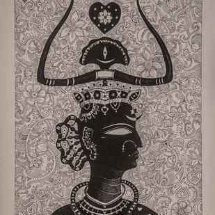 Queen Digital Print by Bhaskar Lahiri,Folk