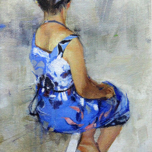 A Summer Dress by Aditya Shirke, Realism Painting, Acrylic on Canvas, Gray color