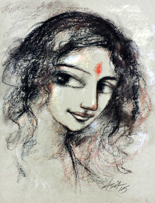 Radhika 2 - Painting by Asit Kumar Sarkar