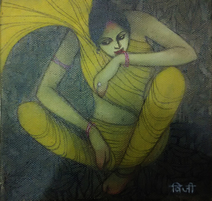 The Hope 01 by Vijaylaxmi D Mer, Decorative Painting, Mixed Media on Canvas, Green color