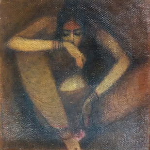 The Hope 02 by Vijaylaxmi D Mer, Decorative Painting, Mixed Media on Canvas, Brown color