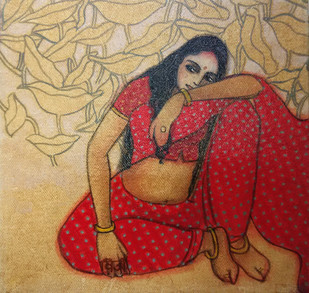 The Hope 03 by Vijaylaxmi D Mer, Decorative Painting, Mixed Media on Canvas, Brown color