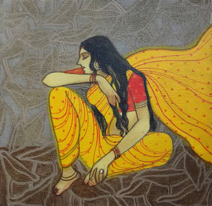 The Hope 04 by Vijaylaxmi D Mer, Decorative Painting, Mixed Media on Canvas, Brown color