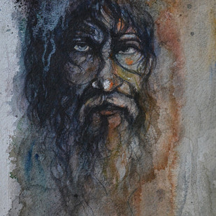 Daadhiwala by Uday Tadphale, Expressionism Painting, Watercolor on Paper, Gray color