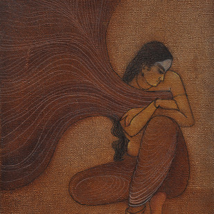 The Hope 10 by Vijaylaxmi D Mer, Decorative Painting, Mixed Media on Canvas, Brown color