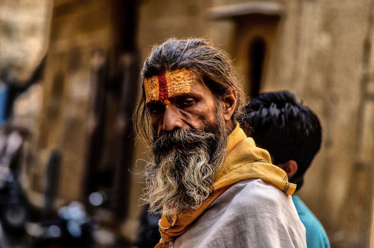 Sadhu dhadhiwala by Uday Tadphale, Expressionism Photography, Digital Print on Canvas, Brown color