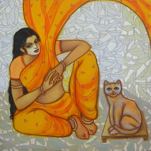 The Hope 11 by Vijaylaxmi D Mer, Decorative Painting, Mixed Media on Canvas, Brown color