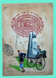 The Stamp of Life by Malchand Pareek, Conceptual Painting, Mixed Media on Canvas, Beige color