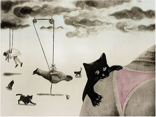 The Pink by Dushyant Patel, Surrealism Printmaking, Etching on Paper, Beige color