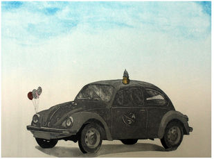 Untitled by Dushyant Patel, Conceptual Printmaking, Etching on Paper, Cyan color