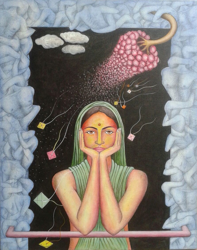 Thinking by Jayaram B, Expressionism Painting, Acrylic on Canvas, Brown color
