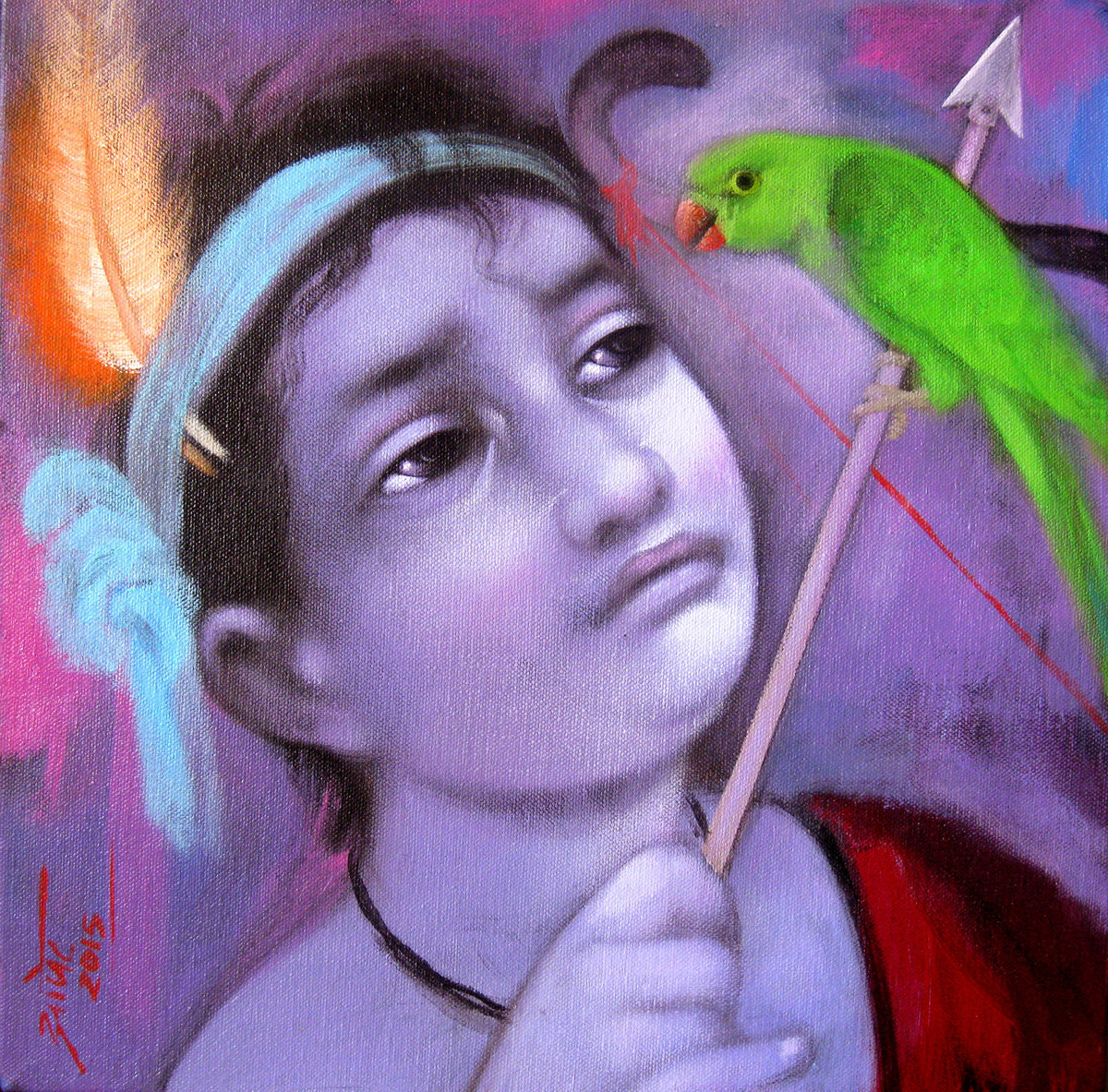 Friend by Apet Pramod Mahadev, Expressionism Painting, Acrylic on Canvas, Purple color
