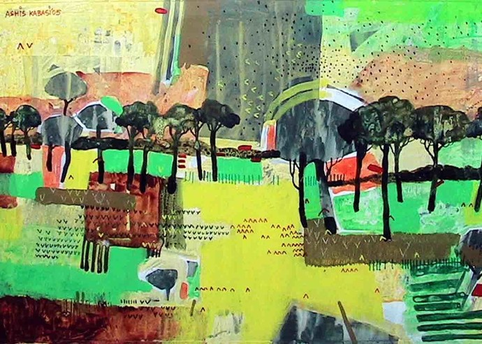 Abstract Landscape 2 - Painting by Ashis Kabasi
